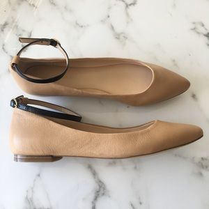 NWOT BR Nude Black Ankle Strap Flats Leather 8